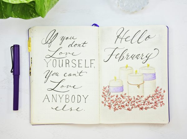 Hello February Bullet Journal setup