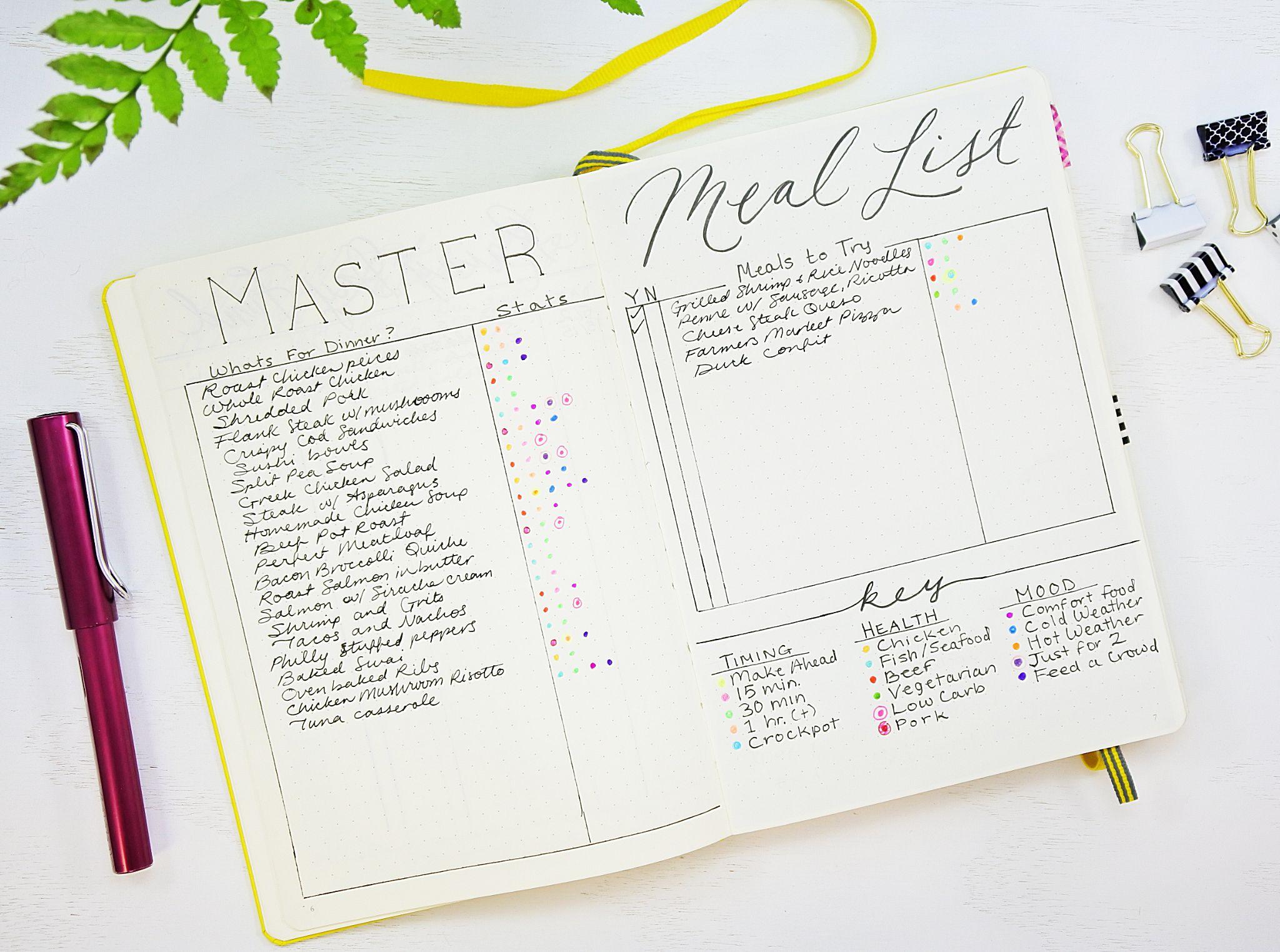 Meal Planning Bullet Journal