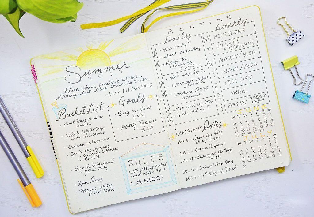 summer plan bullet journal
