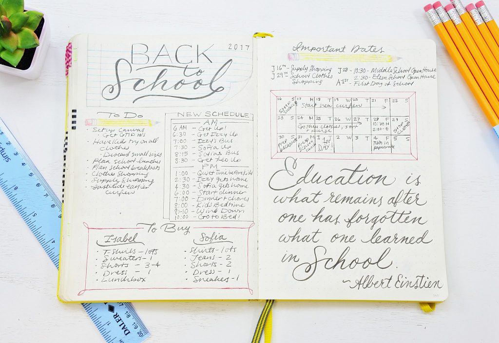 Back to school planning bullet journal quote