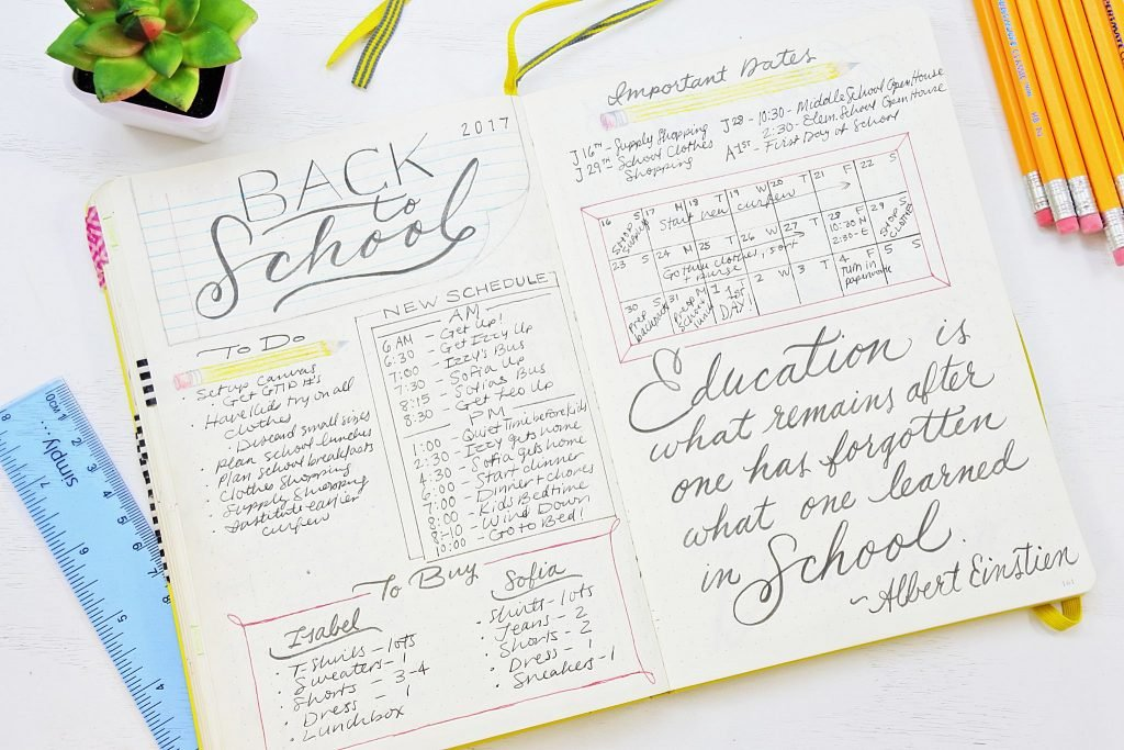 Sheena of the Journal's back-to-school planning journal spread