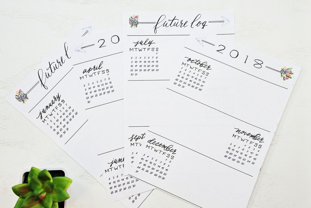 Printable Bullet Journal Future Log - How to start a Bullet Journal
