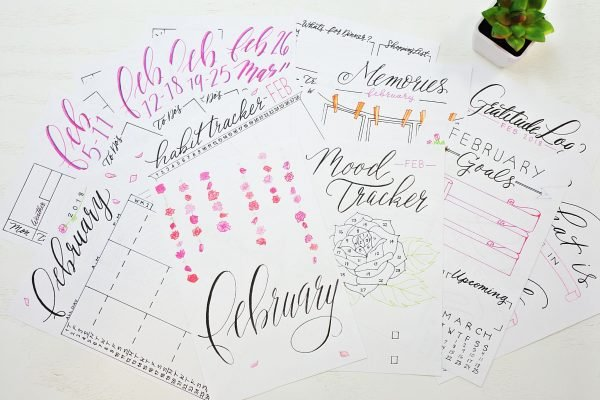 February Monthly planning printables bullet journal