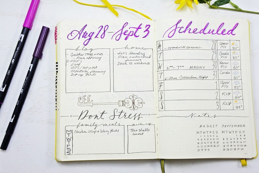 Bullet Journal weekly spread - How to start a bullet journal