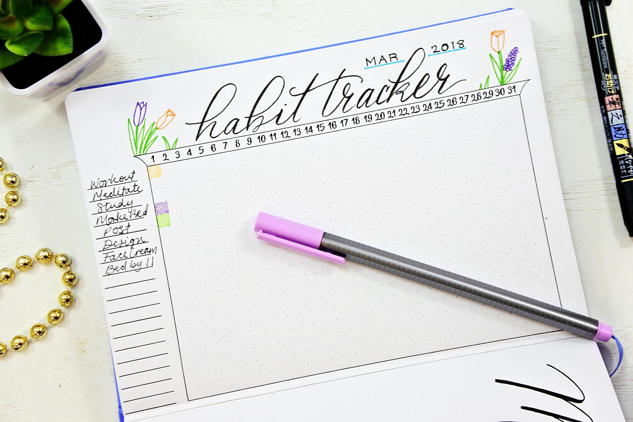 printable bullet journal habit tracker