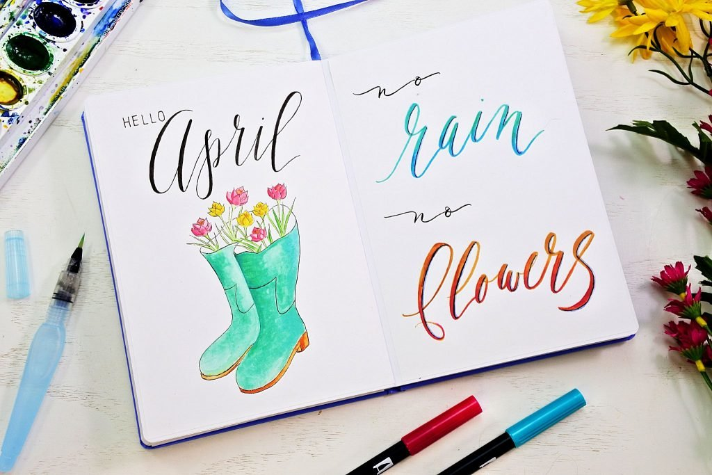 April bullet journal cover page. Bullet journal monthly spread ideas!