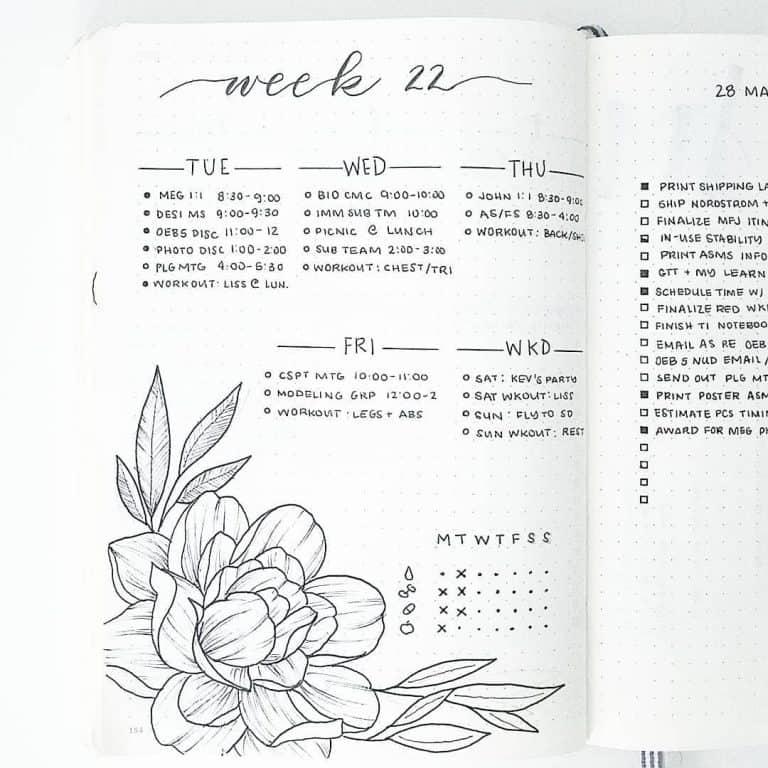 Minimal floral weekly spread in a bullet journal