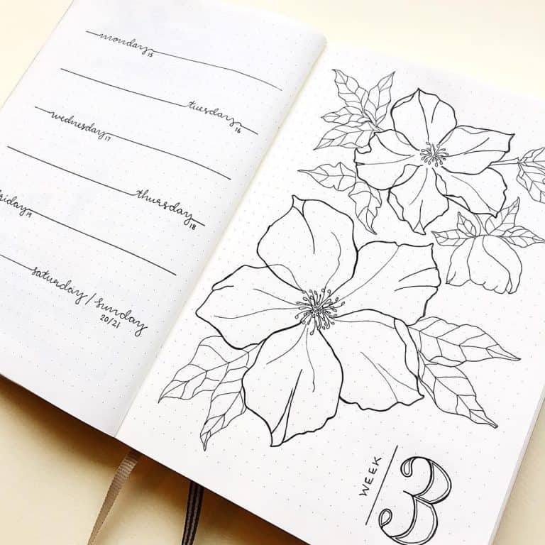 Floral bullet journal weekly spread