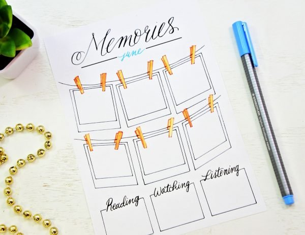 memories apread in a bullet journal printable