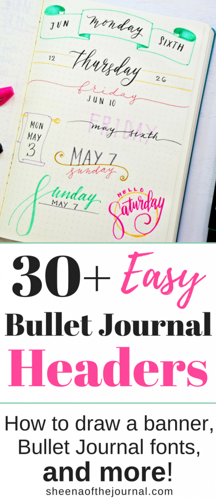 Easy bullet journal header and banner ideas!