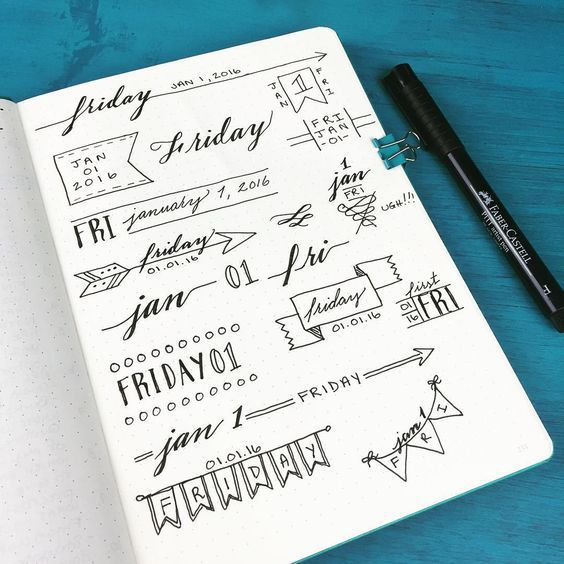 Bullet journal header and banner ideas!