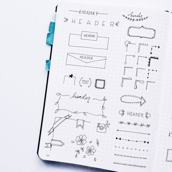 Bullet Journal headers and banner ideas!