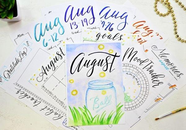 August Bullet Journal printables