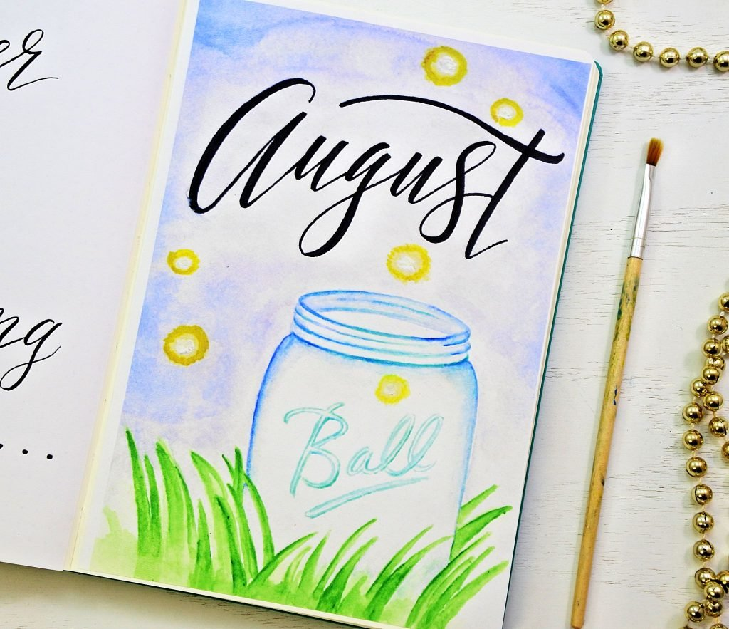 Hello August Bullet Journal Cover Page