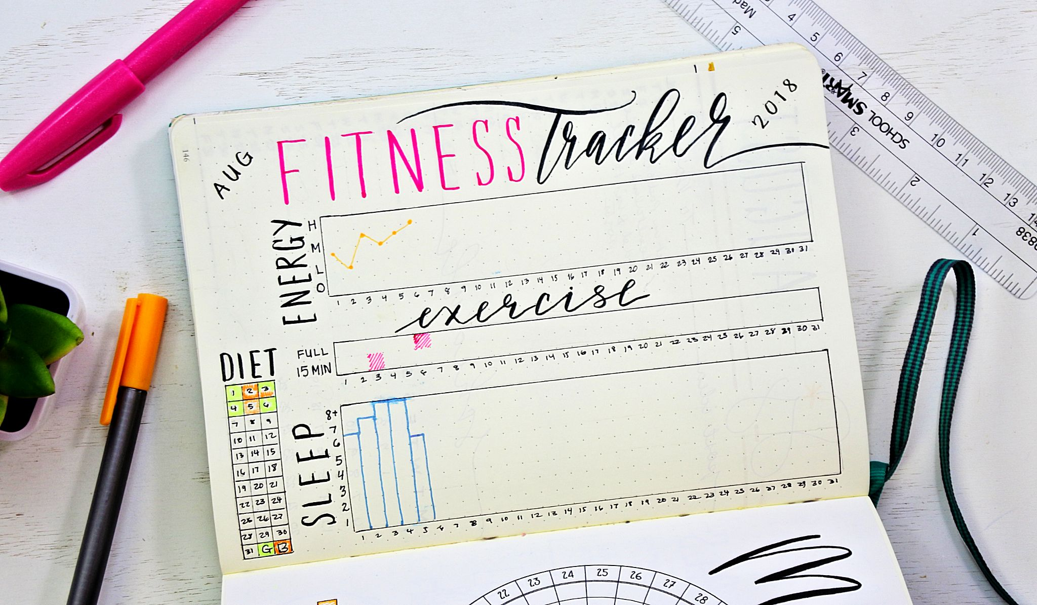 track your overall health and fitness with a bullet journal