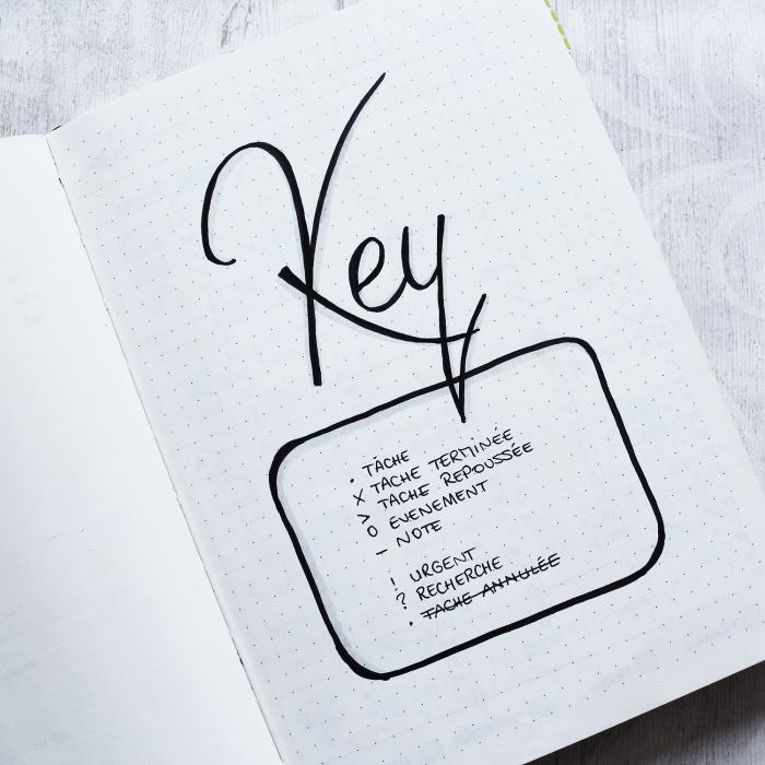 This is a great example of a simple bullet journal key