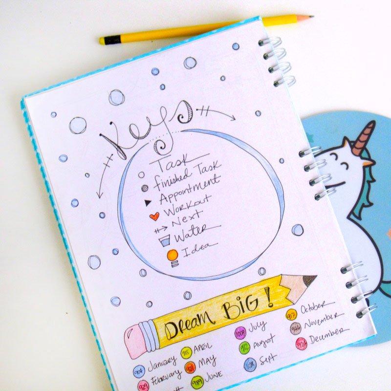 Cute bullet journal key page!