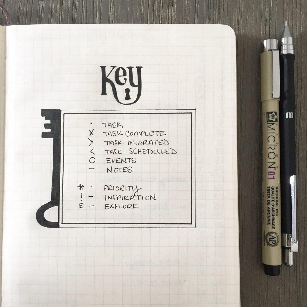 Beutiful minimilist bullet journal key page