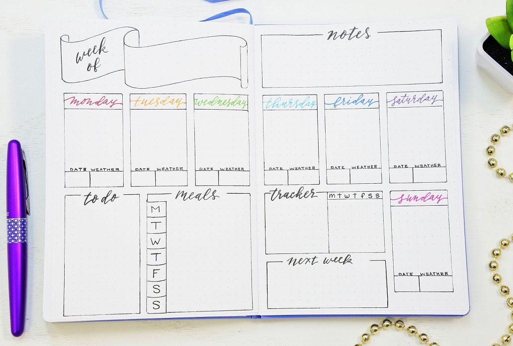 Printable bullet journal weekly spread