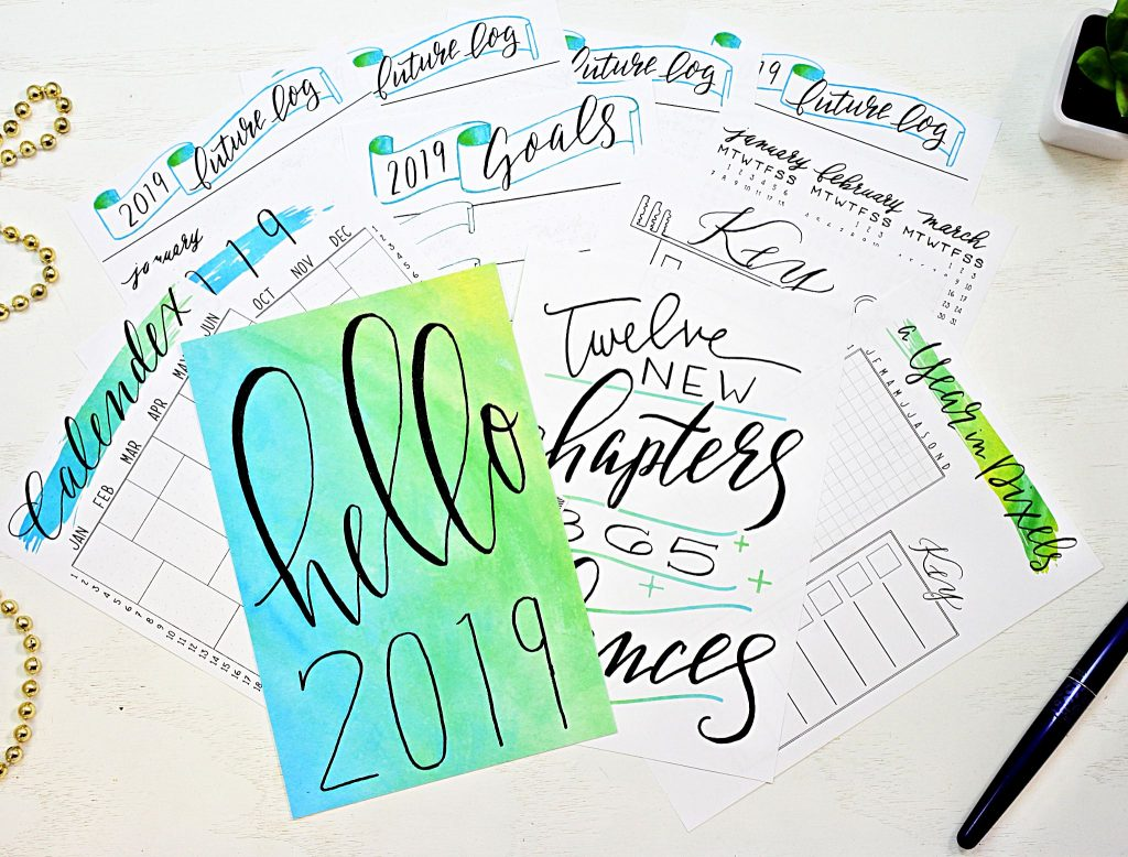 Printable bullet journal setup for 2019