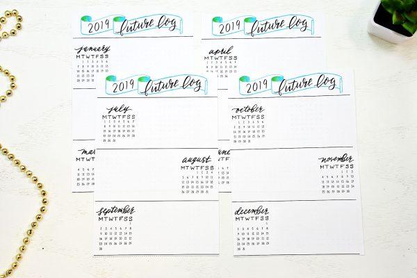 Bullet journal starter kit printable future log