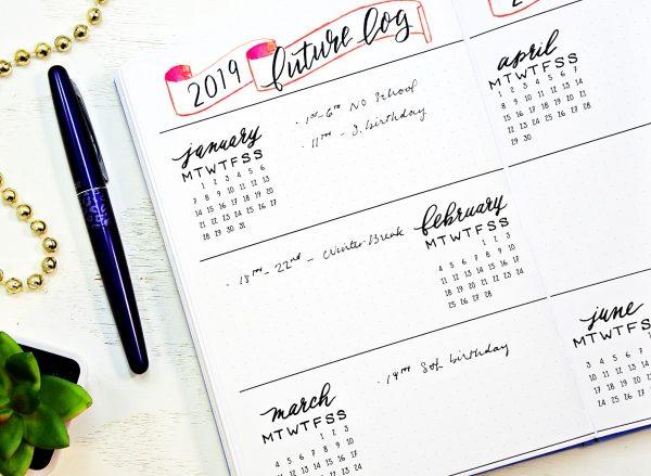 Bullet journal starter kit planner printables. Printable future log.