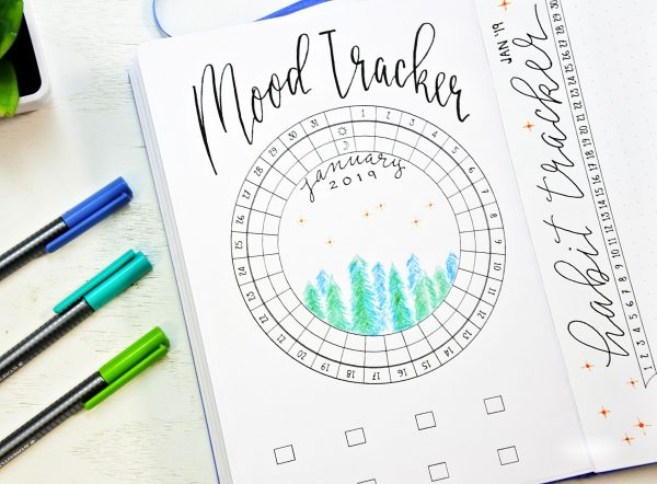 January bullet journal setup printable mood tracker