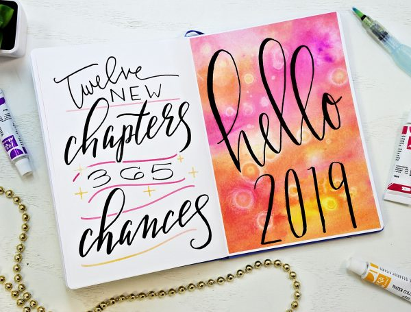 2019 bullet journal setup cover page and hand lettered quote