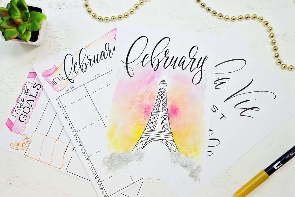 Eiffel tower themed printable bullet journal setup for February