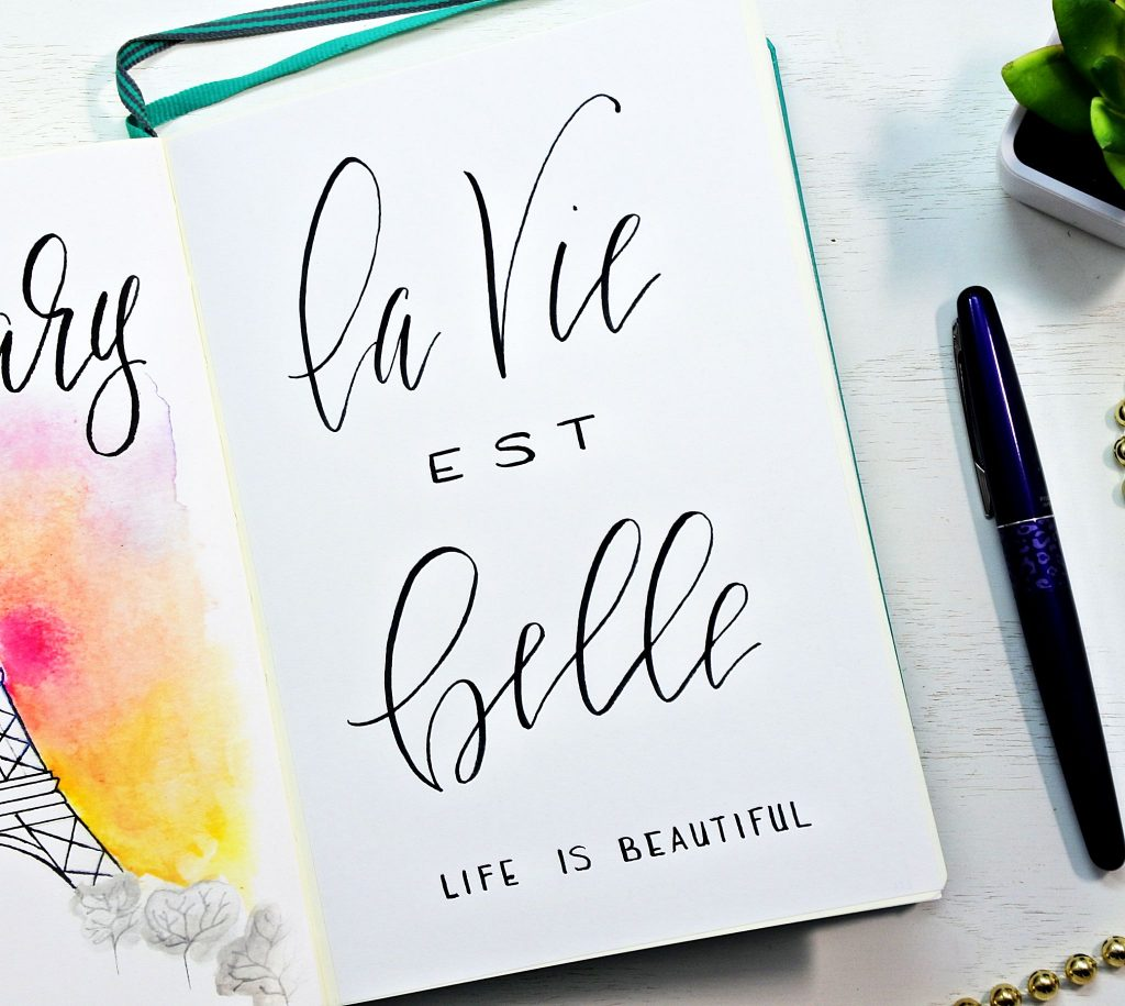 "French hand-lettered quote"" Life is beautiful "" . Hand lettered Bullet journal quote."