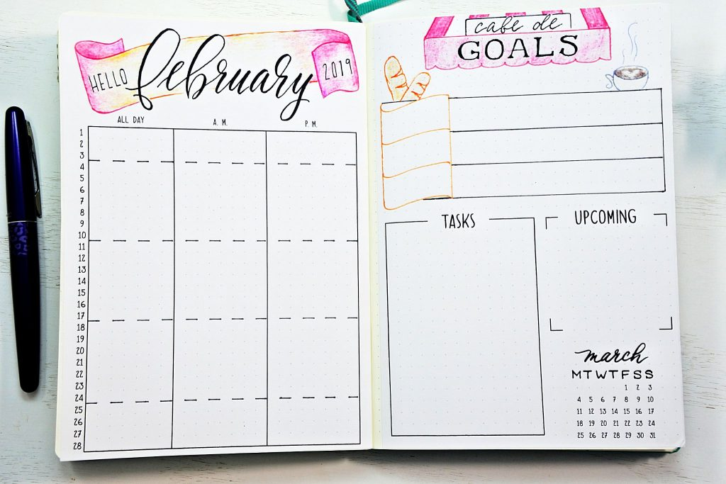 Printable February bullet journal setup with monthly calendar and goals worksheet.