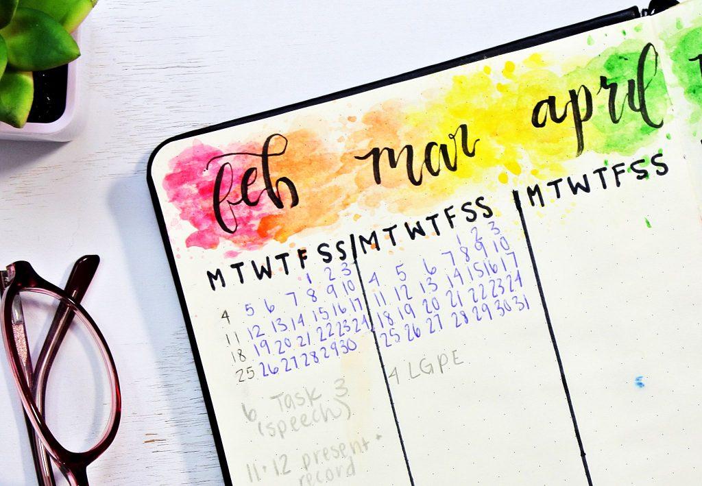 Watercolor bullet journal future log.