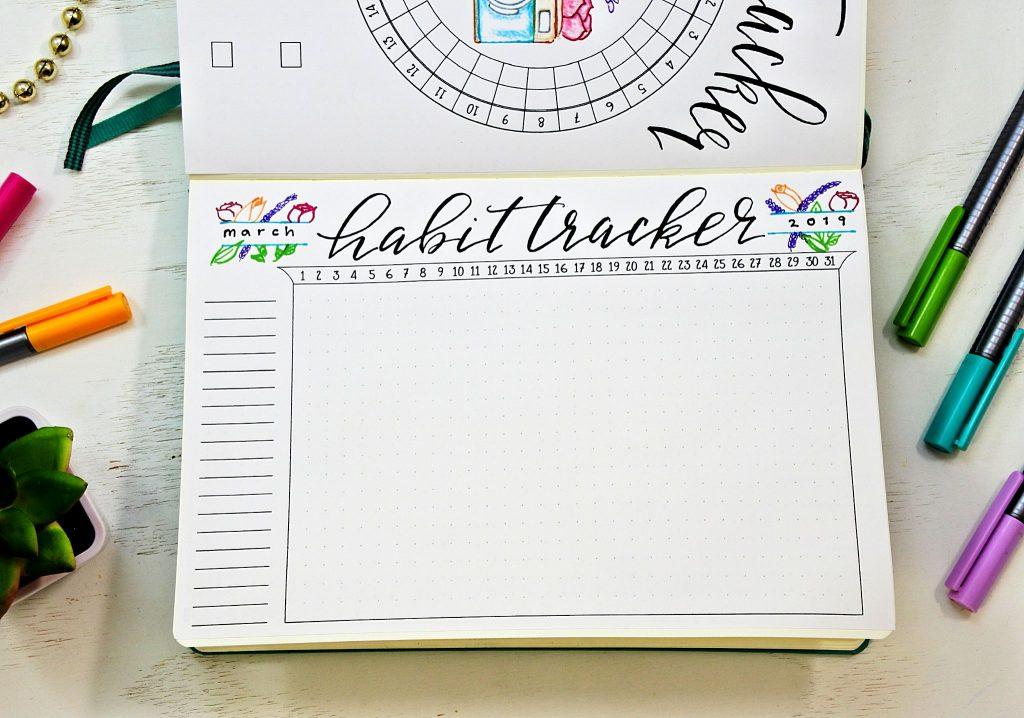 Printable bullet journal habit tracker.