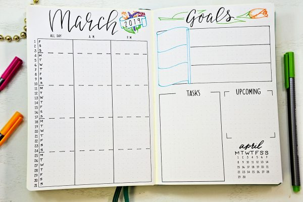 Monthly setup for march in a bullet journal.