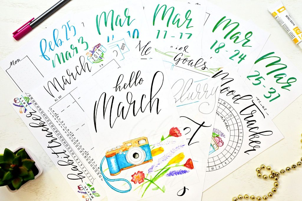 Printable March setup for planner or bullet journal.