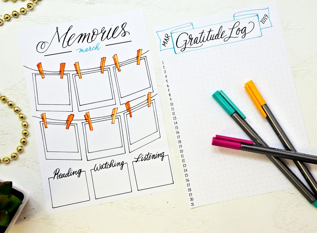 Printable memories page and gratitude log for a Bullet Journal.