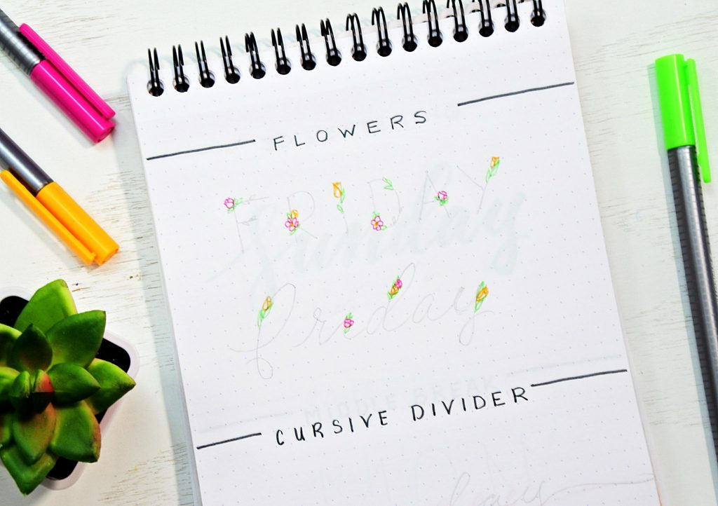 Step by step tutorial to draw floral bullet journal fonts.
