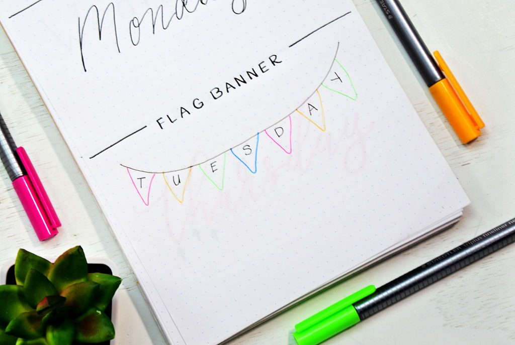 how to draw a flag banner plus dosend of other bullet journal fonts.