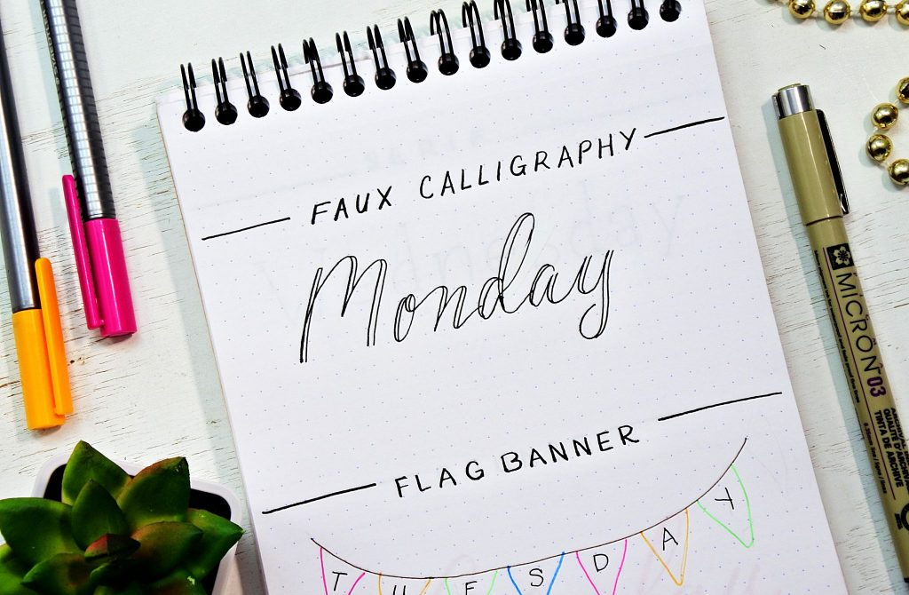 Faux calligraphy tutorial plus tons of bullet journal fonts.