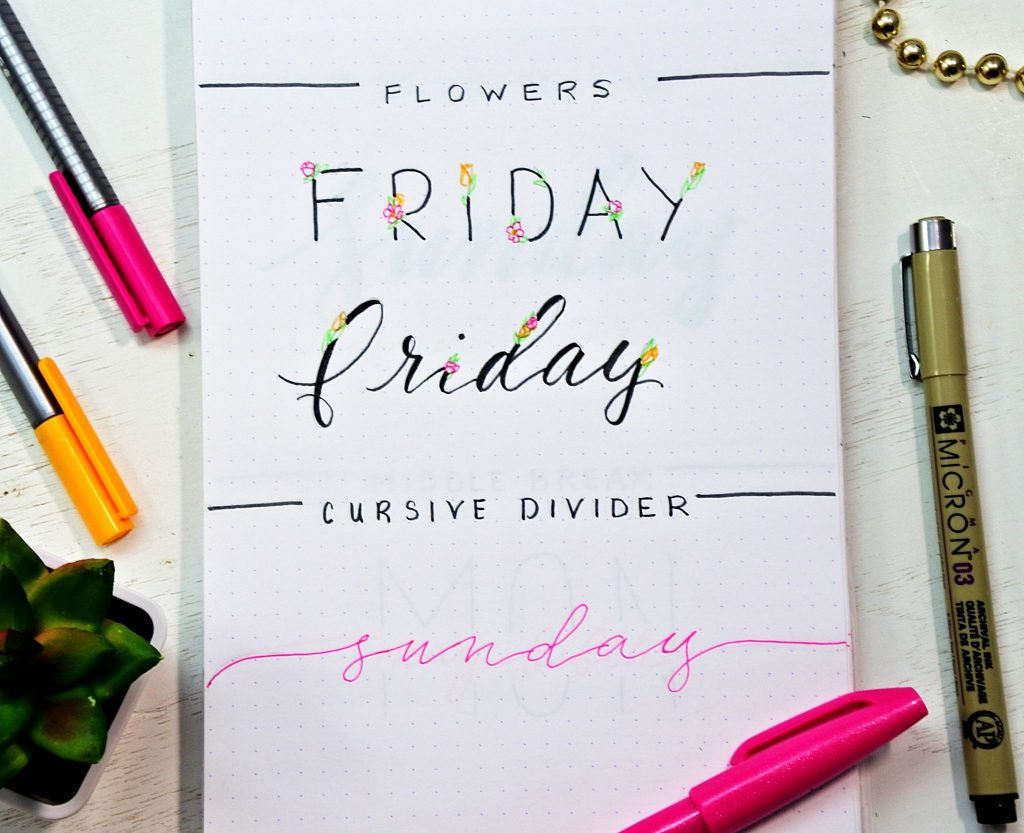 How to draw a floral bullet journal font.