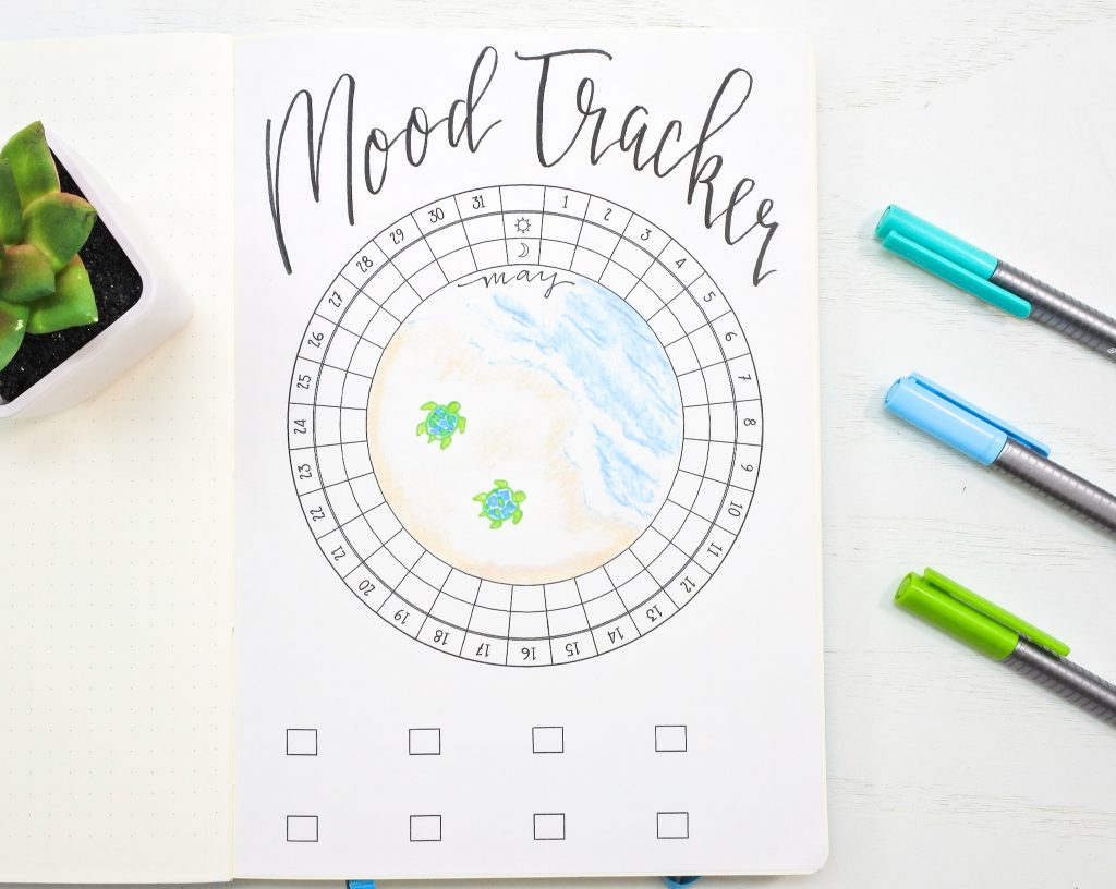 Circular mood tracker for may bullet journal