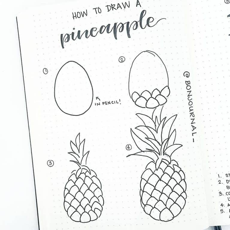Bullet journal doodles how to draw a pineapple