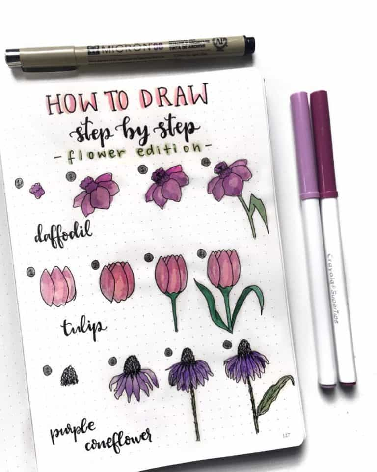 Easy bullet journal doodle tutorial