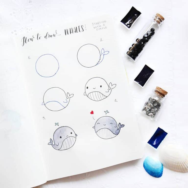 animal bullet journal doodles how to draw a whale