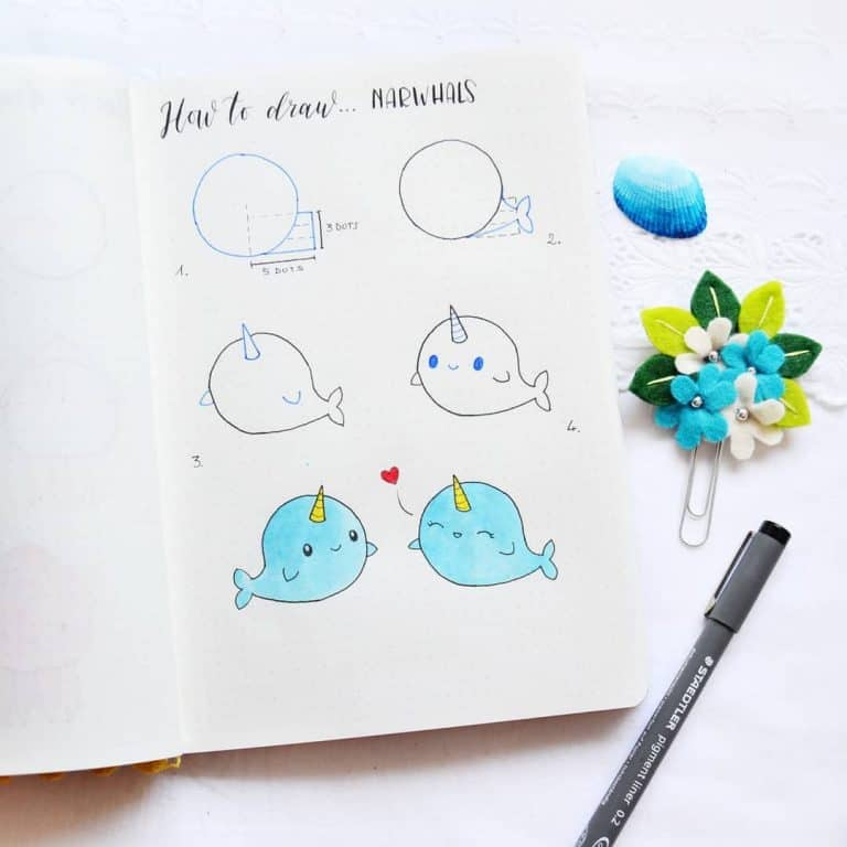 Animal doodles for a bullet journal how to draw a narwhal