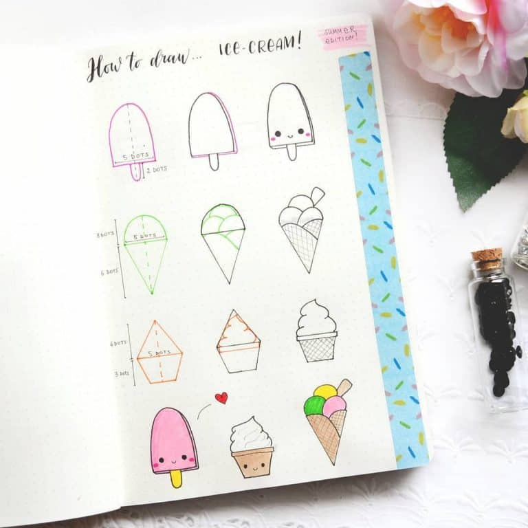 How to draw ice cream cute summer doodles for your bullet journal
