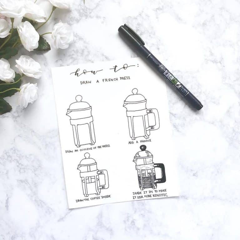 Bullet journal doodles for winter how to draw a french press