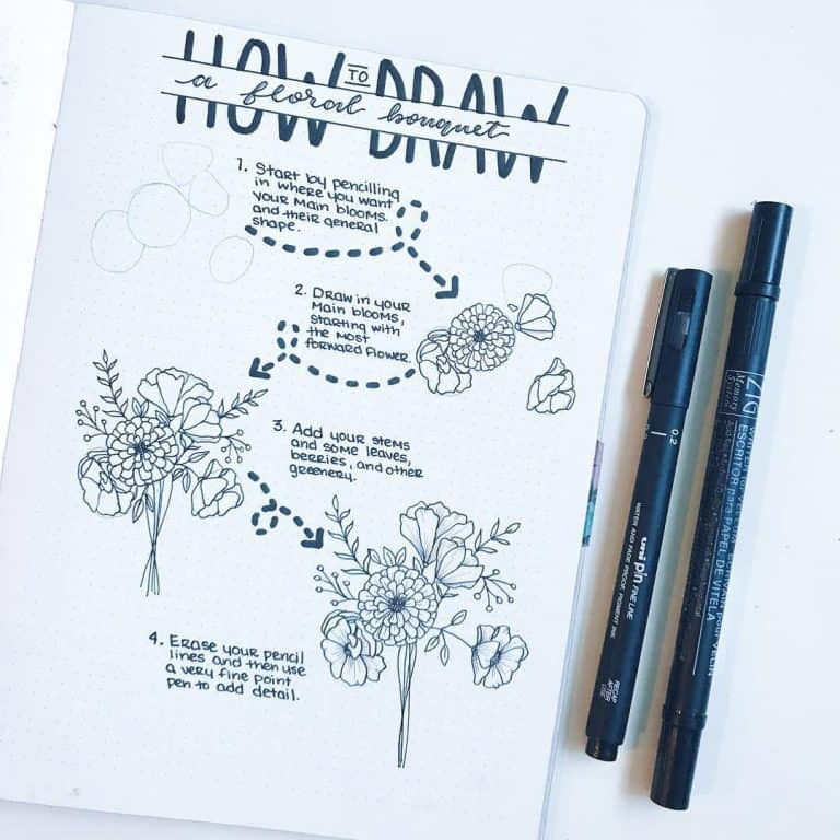 Flower bullet journal doodles - how to draw a bouquet.
