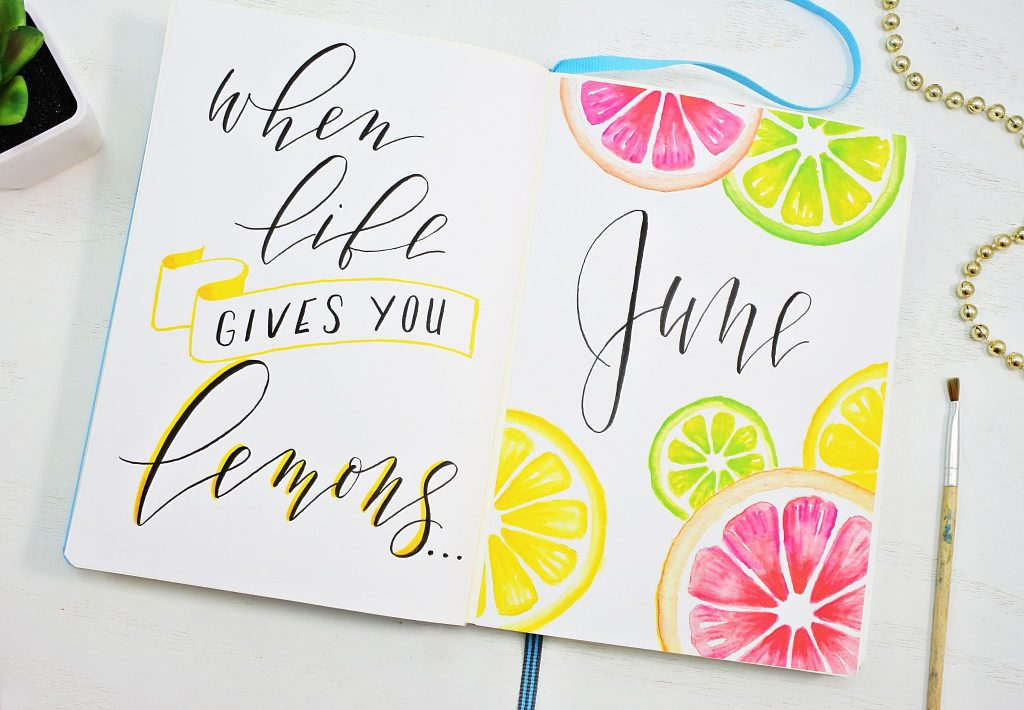 June 2021 Bujo hello page and quote.