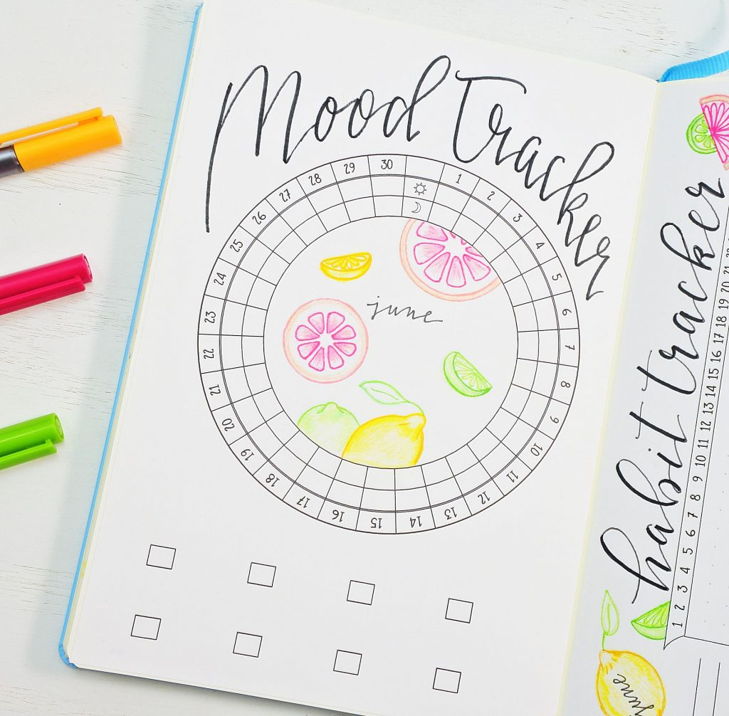 Citrus-themed Bullet Journal mood tracker